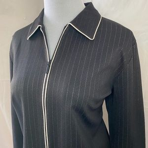 Emma James Black/White Pinstripe Pantsuit